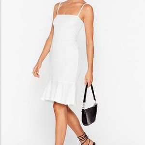 NWT Nasty Gal White Flip Em Off Ribbed Mini Dress
